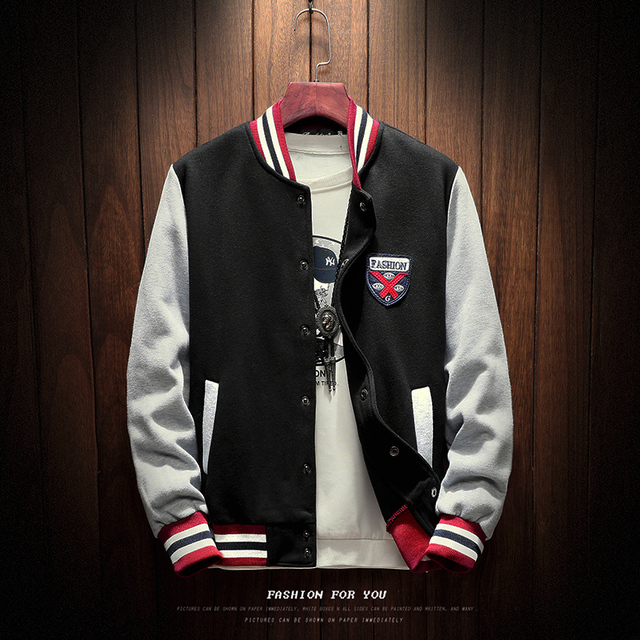 2020 New Arrival Letter Rib Sleeve Cotton Embroidery Logo Single Breasted Casual Bomber Baseball Jacket Loose Cardigan Coat 3