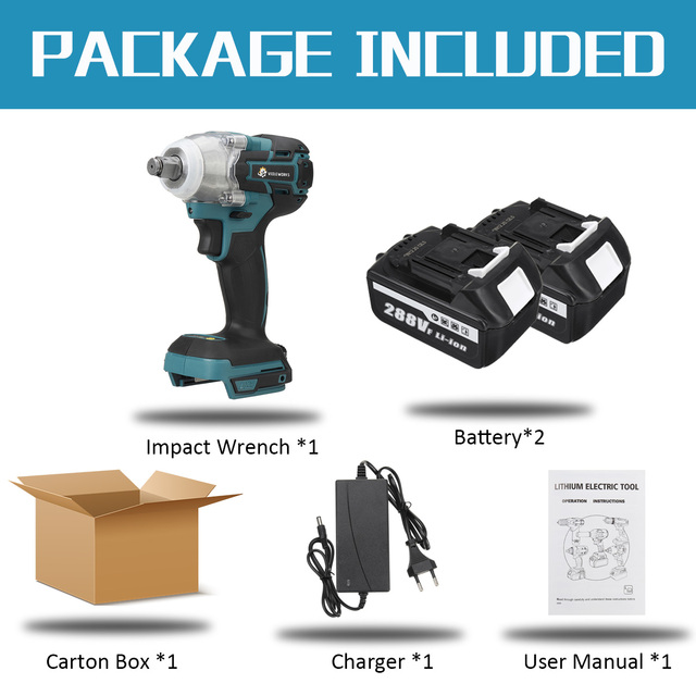 NEW 22800mAh 288VF Brushless Electric Impact Wrench 1/2 Lithium-Ion Battery 6200rpm 800 N.M Torque 110-240V