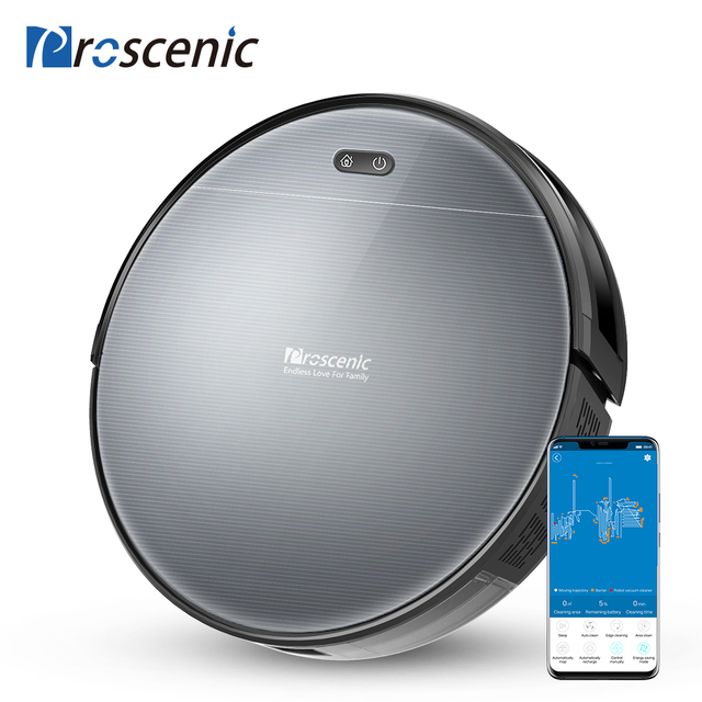 Proscenic 800T Robot Vacuum Cleaner Big Dust Box Water Tank Wet Mopping App Control Auto Charge 1800Pa Suction Robotic Vacuum