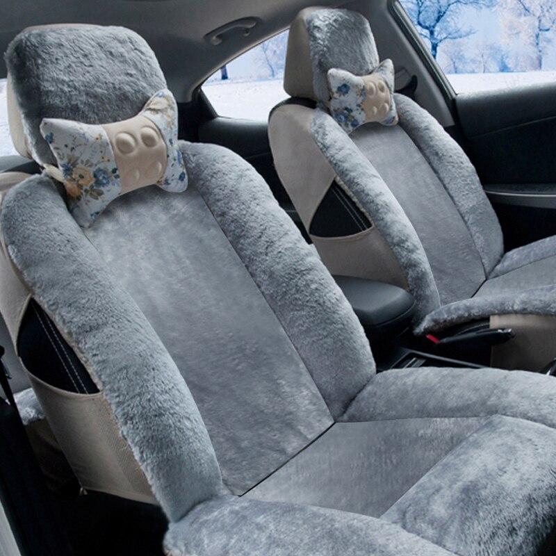 Couverture de sièges Auto hiver couverture complète housse de siège de voiture en peluche pour hummer h2 creta ix25 elantra i30 i40 ix35 kona santa fe solaris - 5