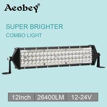 Aeobey 12inch 264w led work light bar 4x4 accessories off road for ATV UTV turck suv