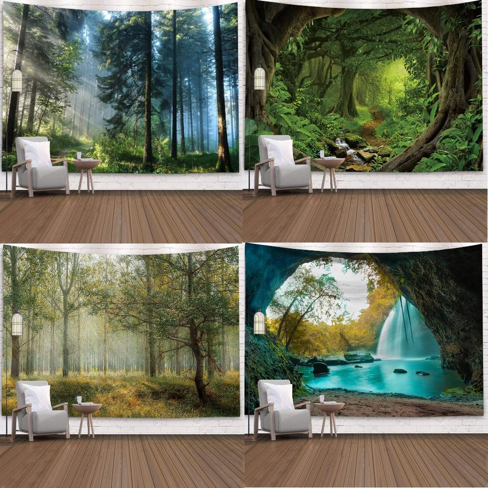 الغابات الطبيعية نسيج المشهد مطبوعة كبيرة الجدار المفروشات رخيصة الهبي الجدار الشنق البوهيمي جدار ديكور فني 150 200 230المفروشات الزخرفيةالمنزل والحديقة -