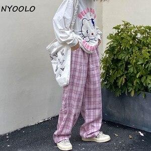 NYOOLO Harajuku винтажные уличные милые клетчатые прямые брюки женские повседневные свободные штаны в стиле хип-хоп с эластичной резинкой на тали...
