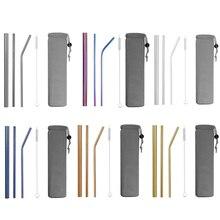 4/8Pcs Colorful Riutilizzabile Cannuccia di Paglia di Alta Qualità In Acciaio Inox 304 di Paglia di Metallo con Brush Cleaner Per Tazze 20/30oz