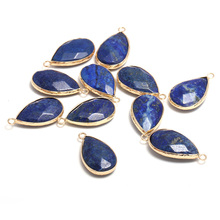 New Natural Stone Pendant Drop-Shaped Faceted Lapis lazuli Pendants Making for Jewelry Necklace Gift Accessories Size 16x30mm natural gem stone pendant necklace for men women oval onyx lapis lazuli pink crystal pendants 18 neck chain fashion jewelry