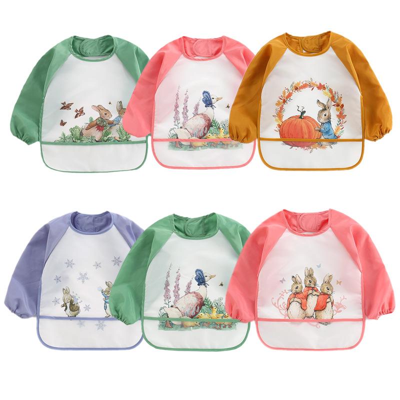 Cute Baby Bibs Toddler Baberos Bavoir Waterproof Long Sleeve Apron Cartoon Animals Children Feeding Smock Bib Baby Stuff 0 3Y
