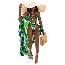Maillot de bain imprimé pour femmes, ensemble 3 pièces, Sexy, Bikini, vêtements de plage, été
