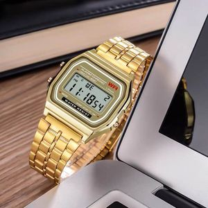 Women Men Unisex Watch Gold Silver Vintage Stainless Steel LED Sports Military Wristwatches Electronic Digital Watches Present(China)