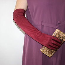 цена на Cotton long gloves women's over elbow winter warm suede arm sleeve 2019 new button style stretch ladies touch screen gloves