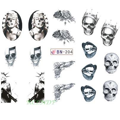 Water sticker for nail art decoration slider skull Marilyn Monroe Statue of Liberty gun design decal lacquer accessoires