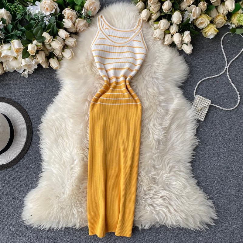 Teeuiear, винтажное, 2020, тонкое, летнее, Полосатое, с принтом, вязаное, обтягивающее платье миди, женское, сексуальное, на бретельках, Вечернее Платье До Колена Платья      АлиЭкспресс