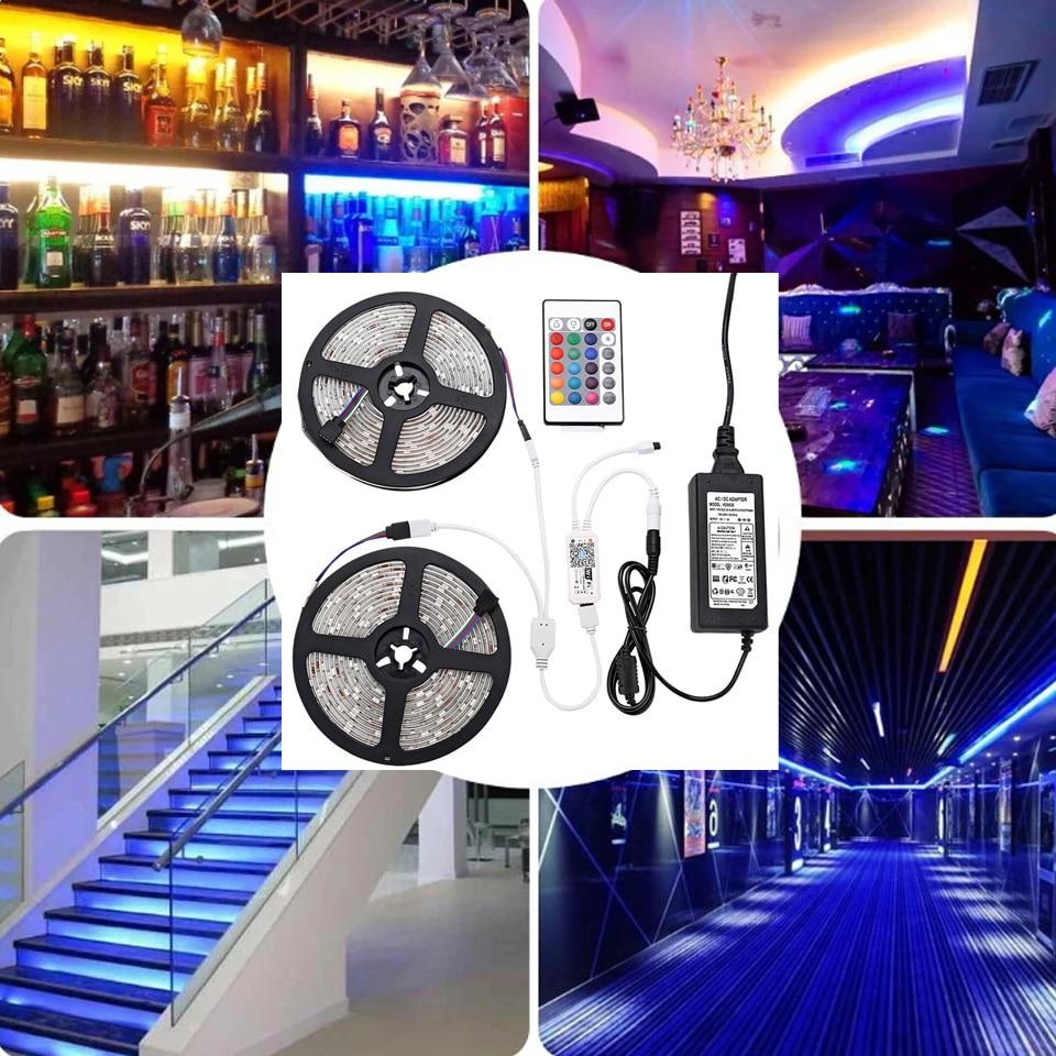 Smart RGB LED Strip Light SMD Waterproof RGB Tape DC12V 10M 33Feet LED Strip Light Flexible Stripe Lamp IR WIFI Controller (59)