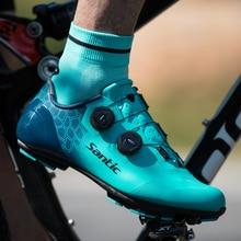 Santic zapatillas de ciclismo de montaña resistentes al desgaste, antideslizantes, con autosujeción, para deportes al aire libre, MS19003