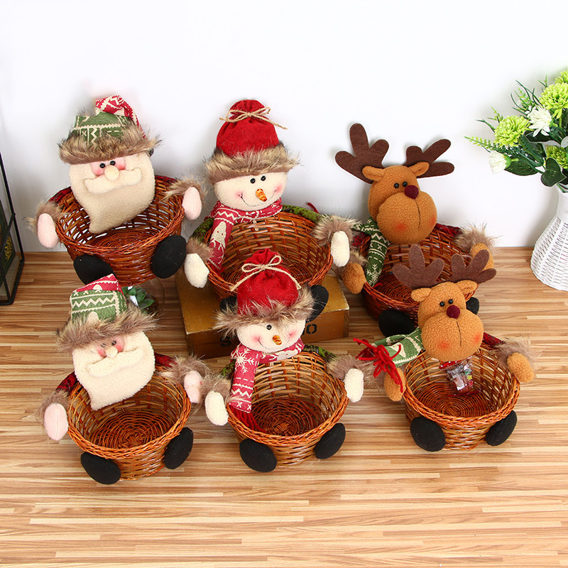 Christmas Candy Basket Christmas Table Prop Decoration Children Christmas Gifts With Santa Clause Snowman Elk Doll