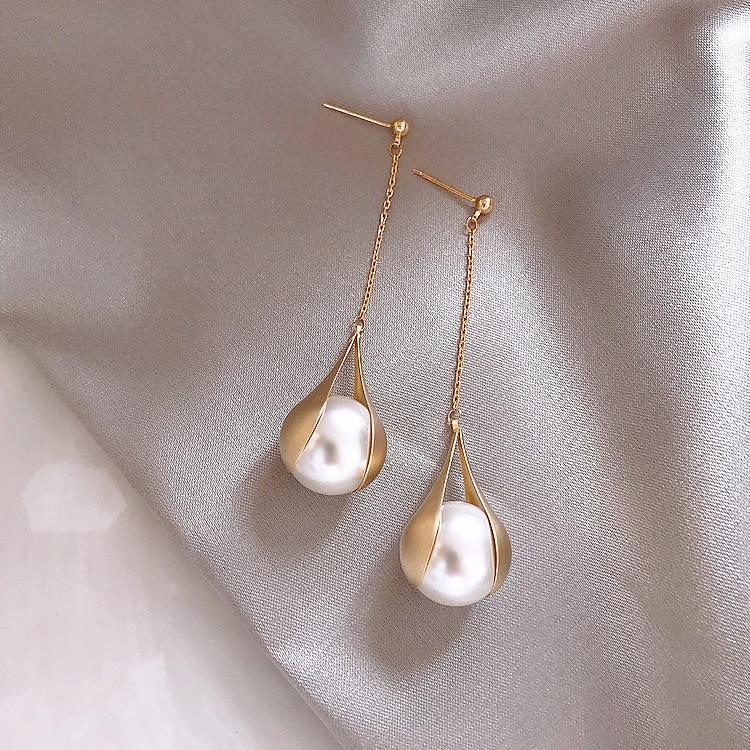 2019 New Arrival Simulated-pearl Trendy Water Drop Women Dangle Earrings Metal Long Tassel Drop Earrings Jewelry Earrings