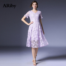 ARiby Lace Female Summer Dress 2019 New Fashion Office Lady V Collar Temperament Short Sleeve Purple Gentle Fairy A-Line