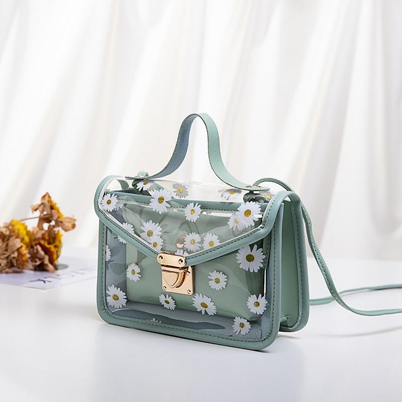 2020 Fashion Women Transparent Daisy Pattern Shoulder Bag Hardware Chain Strap Color Block Messenger Handbag Composite Tote