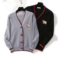 High Quality Cardigan Sweater Women Elephant Embroidery Knit Cardigan Women Thick Loose Sweater Female Plus Size Cardigan Female