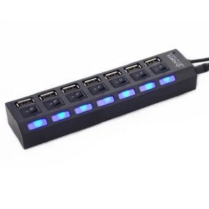 7 Ports USB 2.0 Adapter High Speed Multi-interface Hub Power on/off Independent Switch Indicator Light Seven-bit Splitter(China)