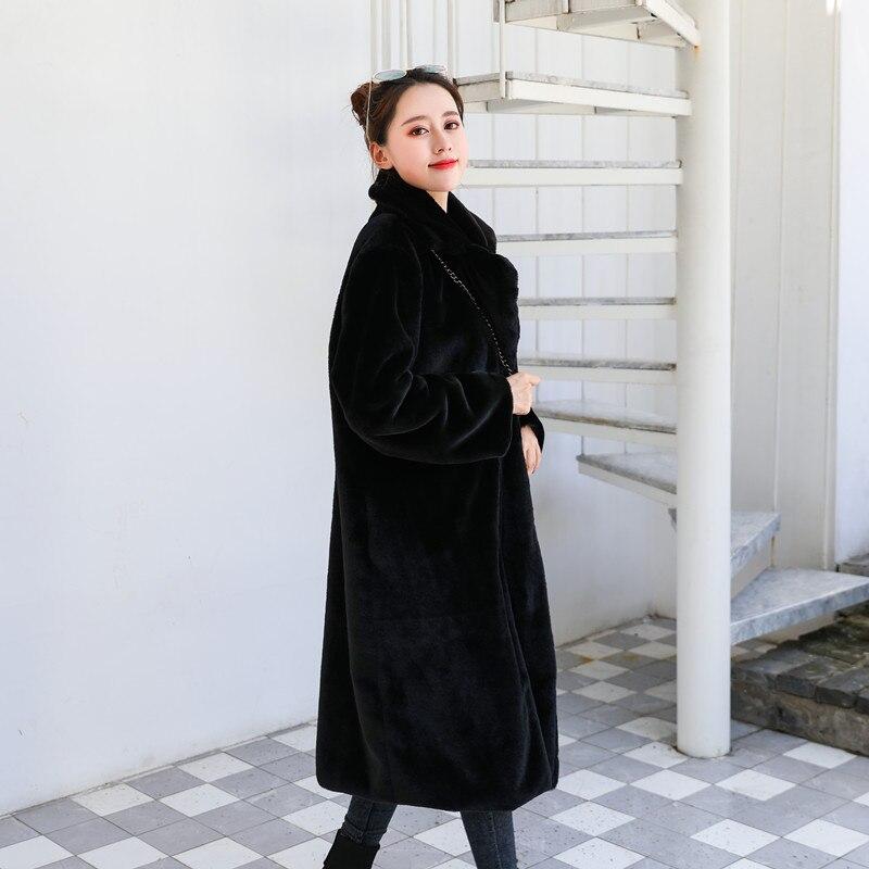 Зимняя новинка Женская мода Стиль чистый цвет теплый толстый искусственный мех кролика пальто XHSD-426 - Цвет: BLACK