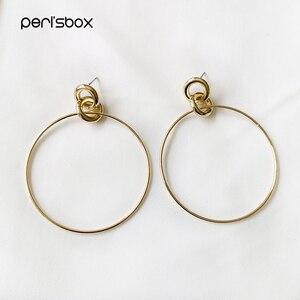 Peri'sBox cienki drut Big Circle mosiężne złote kolczyki dla kobiet Triple Loop geometryczne kolczyki okrągłe minimalistyczne kolczyki obręcze 2019