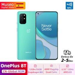 Глобальная ROM OnePlus 8 T 8 T Смартфон Snapdragon 865 12 Гб 256 ГБ 6,55 ''120 Гц жидкокристаллический дисплей 48MP Quad Cams 65W зарядка NFC