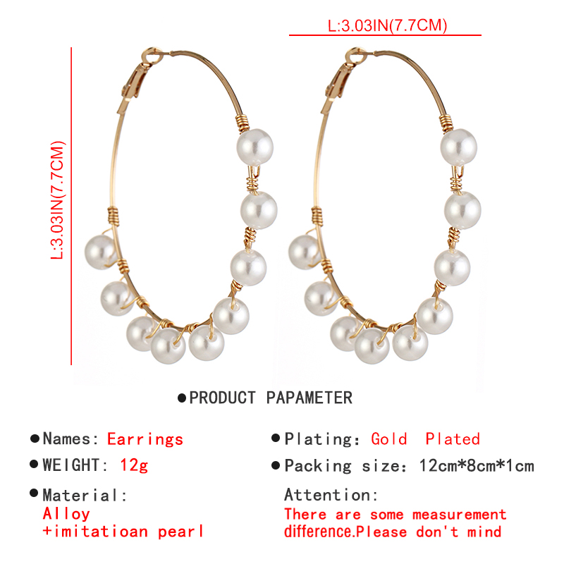 Lalynnlys Fashion Elegant Imitation Pearl Drop Dangle Earrings for Women Big Circle Round Earring Party Wedding Jewelry E54781 4