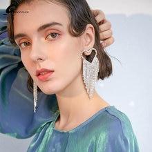 Accessories for women korean heart drop tassel earrings pendientes