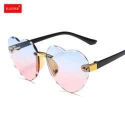 1PC Girls Cute Heart Rimless Frame Sunglasses Children Kids Gray Pink Red Lens Fashion Boys Girls UV400 Protection Eyewear New