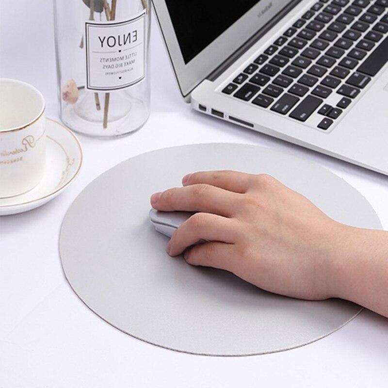 Нескользящий круглый коврик для мыши двухцветный удобный кожаный