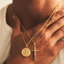 Jóias de viagem pendentif boussole collier ouro aço inoxidável bússola encantos colar forma de moeda estrela do norte pingente correntes presente