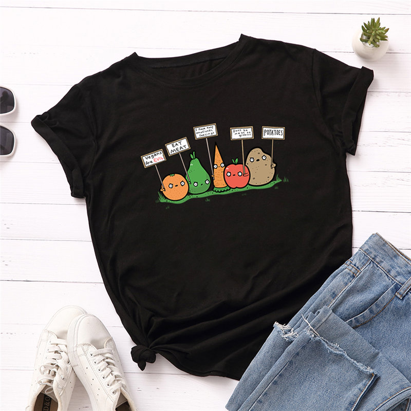 Plus Size 5XL Women T-Shirt Fashion Fruit Cartoon Print T Shirt 100% Cotton O Neck Short Sleeve Summer Tops Casual Tshirt