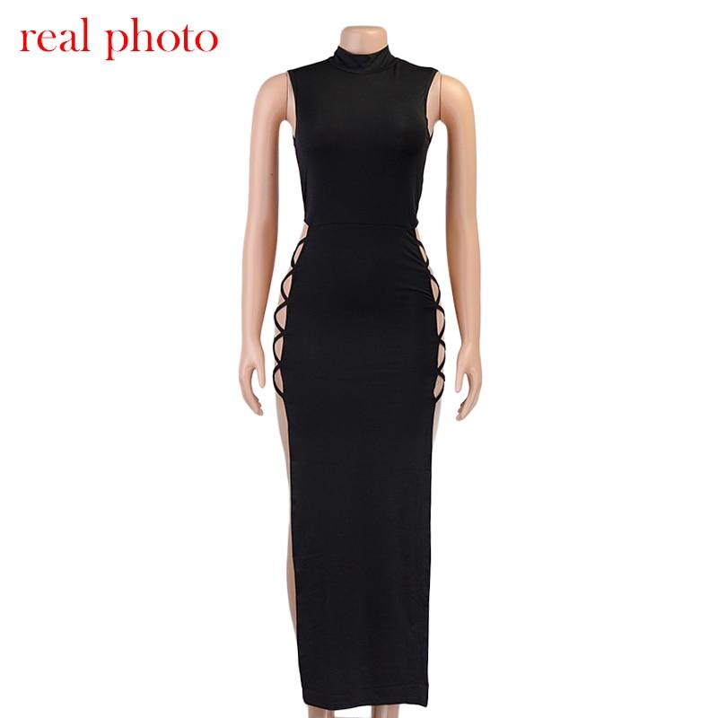 Cryptographic Elegant Black Sleeveless Bandage Sexy Dress for Women Club Party Backless Tank Dresses Skinny Fashion Summer 2021 4