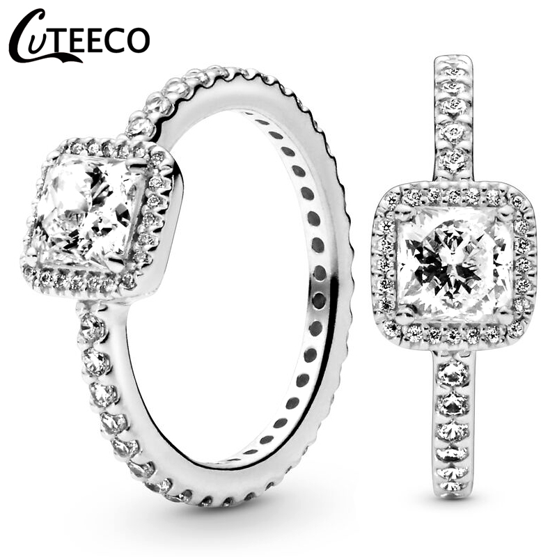 CUTEECO Fashion Eternal Elegance Silver Color Finger Wedding Ring for Women Simple Shiny Stacked Ring Engagement Jewelry
