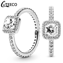 CUTEECO Fashion Eternal Elegance Silver Color Finger Wedding Ring for Women Simple Shiny Stacked Ring Engagement Jewelry cuteeco hight quality silver color lovely bee adjustable ring for women original pan finger ring jewelry engagement gift