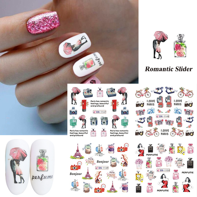 12pcs Romantic Stickers for Nails Lover Lip Tower Perfume Flower Water Transfer Slider Manicure Decoration Decor CHBN1141-1152-2