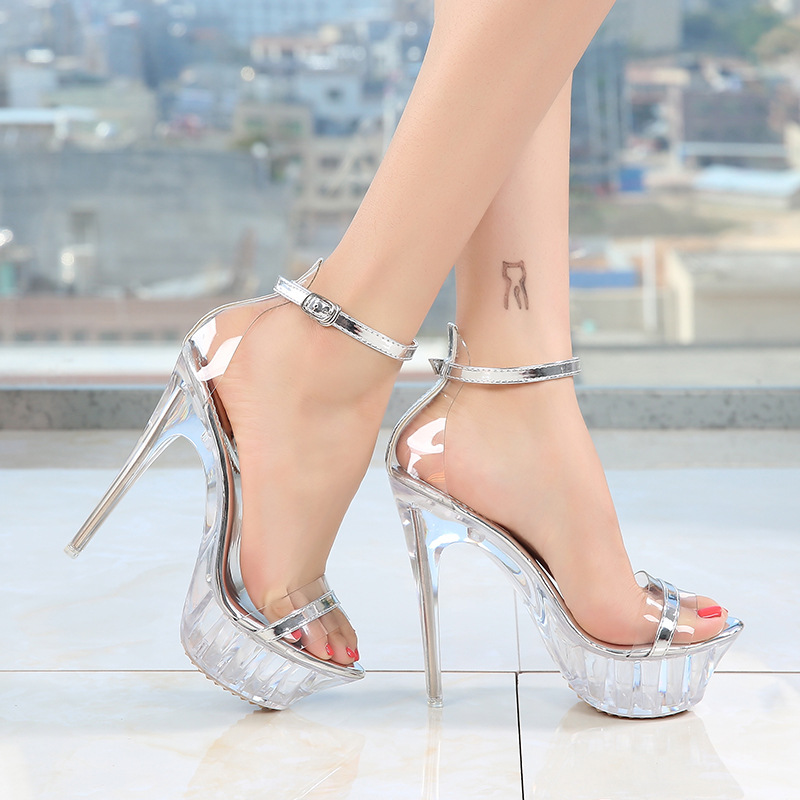 Sandal women summer thin heels sexy party shoes platform high heels ankle buckle transparent heel big size rtg67(China)