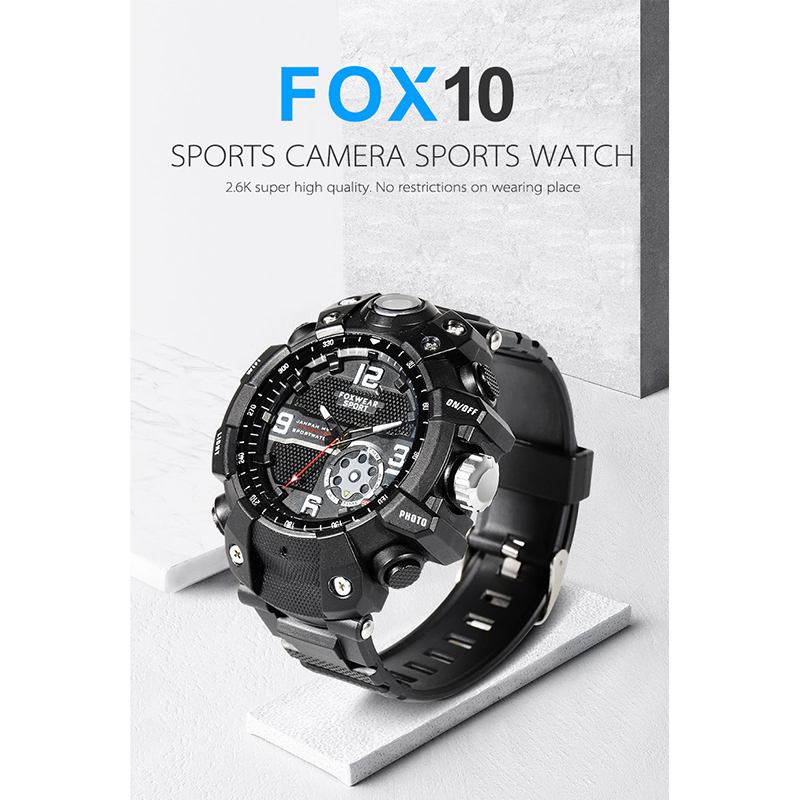 FOX10 Sports Camera Watch Remote Wifi Large Capacity HD X1440P Camera Wristband Glare Lighti IP67 Waterproof Smart Watch