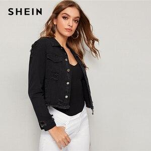 Image 4 - Женская джинсовая куртка SHEIN, черная рваная Повседневная однобортная куртка с потертыми краями и длинным рукавом, весна осень