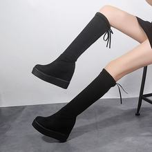 black long overknee boots women shoes woman botines mujer 2019 black booties ladies shoe knee high boot(China)
