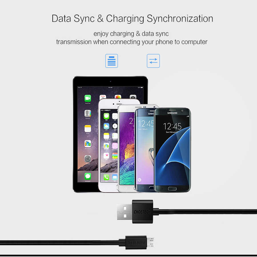 CHOETECH المصغّر usb كابل شحن سامسونج S7 هواوي سلك USB 2.4A سريع شاحن الهاتف المحمول كابل يو اس بي ل Xiaomi ملاحظة