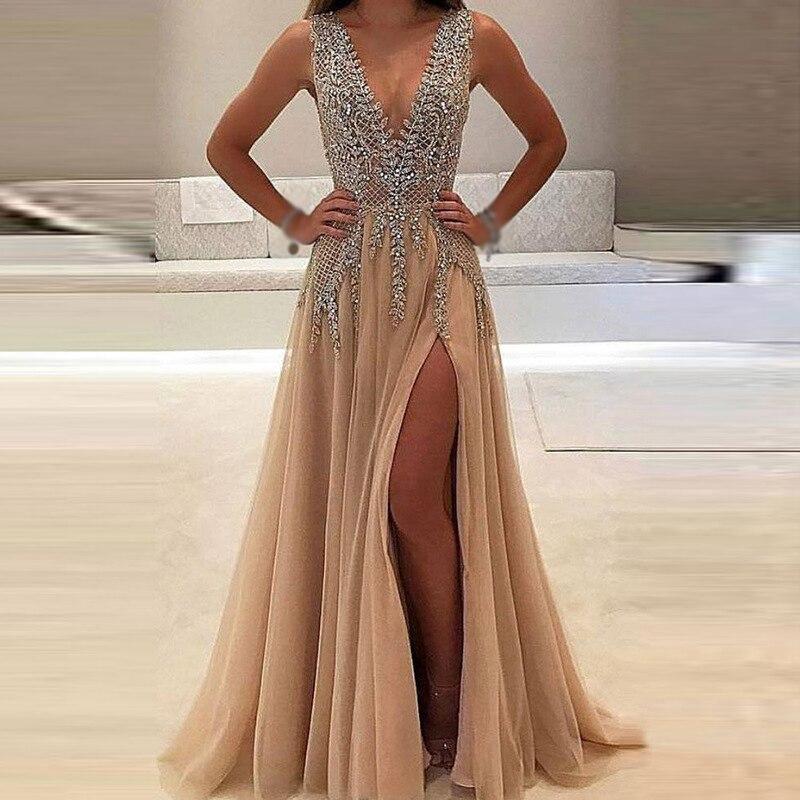 Women-Dress-Bridesmaid-Ball-Long-Sundress-Fashion-Prom-Maxi-Wedding-V-Neck-Formal-Sleeveless-Casual-Split (1)