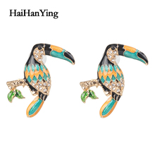Rainbow colored hornbill women earrings animal punk exaggerated retro luxury charm jewelry personality
