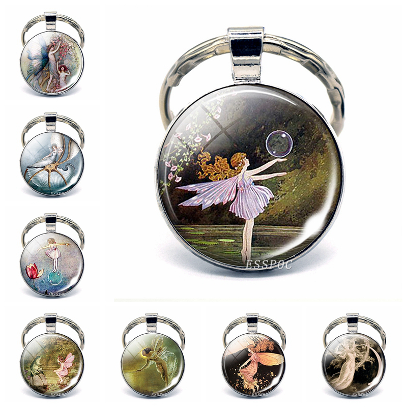 Fairy In Moon Photo Key Chain Angel Pendant Glass Cabochon Jewelry Fairy Dust Keychain Elf Keyring For Women Best Gifts