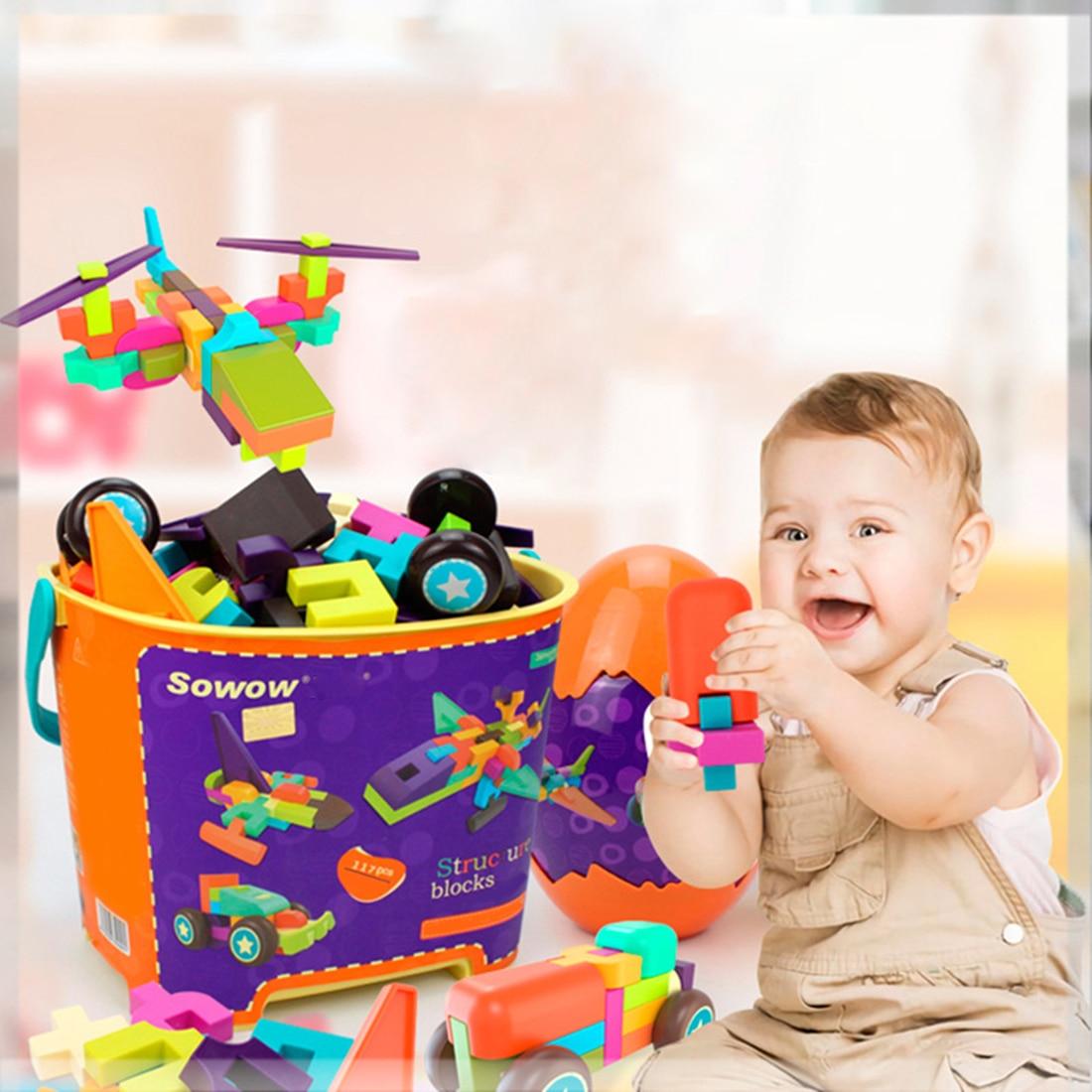 117 pièces enfants créatifs grosses particules blocs assemblé jouet éducatif interconnexion blocs Construction et Construction