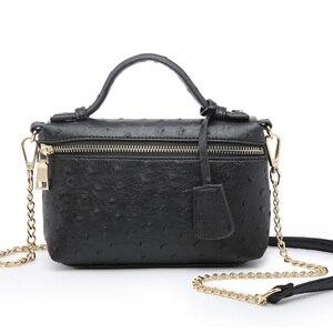 Image 2 - Usine en gros autruche pochette en cuir sac à main chaîne en cuir embrayage fourre tout sac à bandoulière Eleagnt