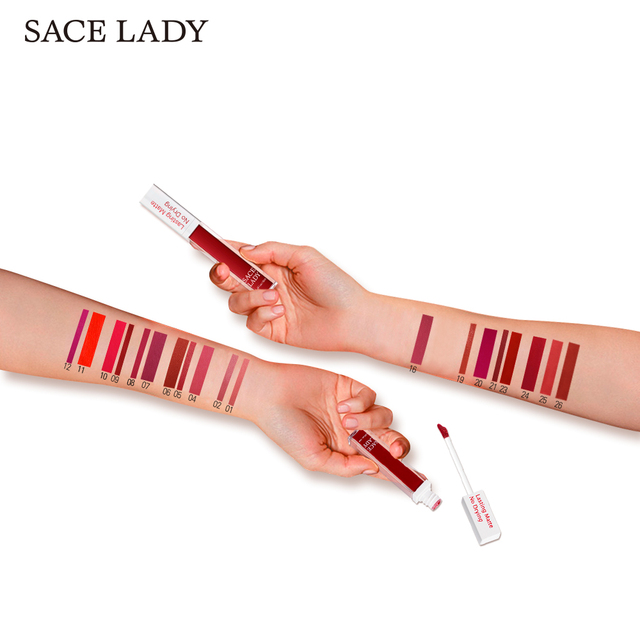 SACE LADY Long Lasting Lipstick Make Up Matte Liquid Lip Stick Non Drying Makeup Nude Red Pigment Waterproof 23 Colors Cosmetic 2