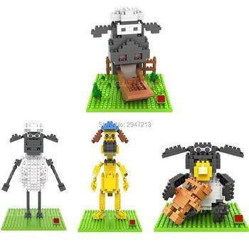 ¡Oferta! Figuras de película de dibujos animados clásicos de Lepining, la oveja Shaun Bitzers perro en miniatura, mini bloques de micro Diamante, juguetes de ladrillos para regalo