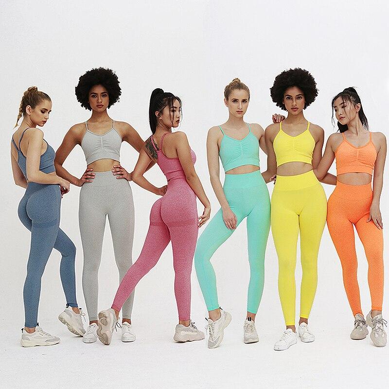 Conjunto de Yoga sem Costura Sutiãs + Leggings Conjunto de Fitness Esportivas para as Mulheres Peça Conjunto Activewear Roupas Treino Feminino 2