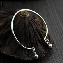 925 Sterling Silver Thai Imported Handmade Silver Bracelet Simple New Trendy Glossy Ring Opening Bracelet Women's Accessories 925 sterling silver thai handcrafted individual trendy leaf frosted fine bracelet creative feather lady s ring accessories